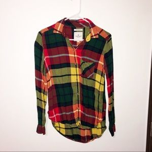 American eagle boyfriend fit soft plaid flannel Xs